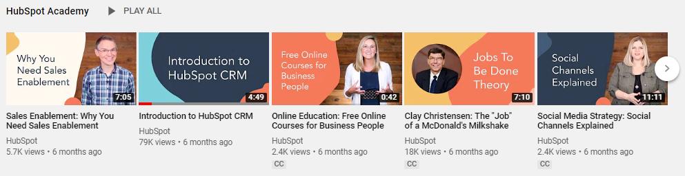 b2b software marketing videos hubspot youtube screenshot